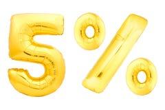 Cinque per cento dorati fatti dei palloni gonfiabili Fotografie Stock Libere da Diritti