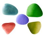 Cinque pietre di colore Fotografia Stock