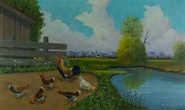 Cinque polli e un grande rubinetto accanto all'acqua fotografia stock