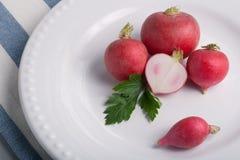 Cinque ravanelli su un piatto Immagini Stock