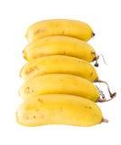 Cinque risultati delle banane disposti Fotografie Stock