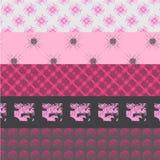 Cinque rosa e modelli grigi Immagine Stock Libera da Diritti