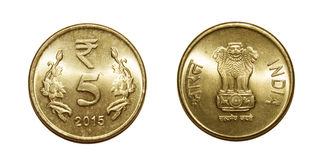 Cinque rupie di moneta India Fotografie Stock Libere da Diritti
