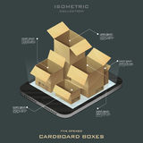 Cinque scatole di cartone aperte Acquisto in linea Commercio elettronico Immagini Stock Libere da Diritti
