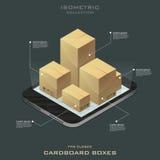 Cinque scatole di cartone chiuse Acquisto in linea Commercio elettronico Fotografia Stock