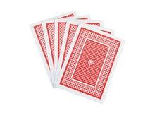 Cinque schede di gioco su bianco con il percorso di residuo della potatura meccanica Immagini Stock