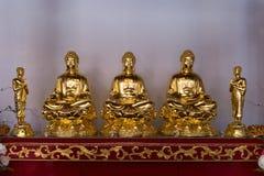 Cinque sculture dell'oro su un altare al santuario di cantone Immagini Stock