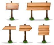 Cinque segni di legno su fondo bianco Fotografie Stock Libere da Diritti