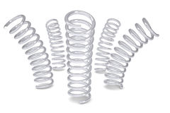 Cinque spirali del metallo Fotografie Stock Libere da Diritti
