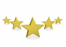 Cinque stella dorata - 3d Fotografia Stock