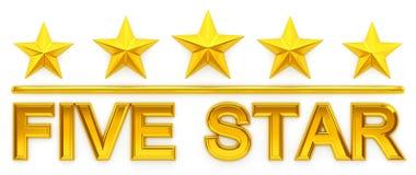 Cinque stella - rappresentazione 3d Immagini Stock
