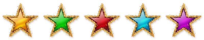 Cinque stelle che votano - cinque stelle Colourful, 5, quinti - Recension illustrazione vettoriale