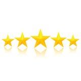 Cinque stelle dorate Immagine Stock Libera da Diritti