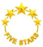 Cinque stelle dorate Fotografia Stock Libera da Diritti