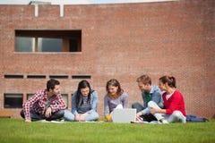 Cinque studenti casuali che si siedono sull'erba facendo uso del computer portatile Immagine Stock