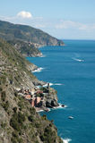 Cinque Terra. A spectacular view of the sea from the footpaths of Monterosso, one of five villages of Cinque Terra Royalty Free Stock Photography