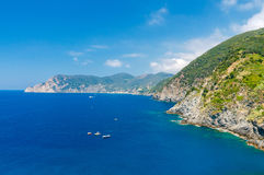 Cinque Terra. The coastline of the national park. Royalty Free Stock Photography