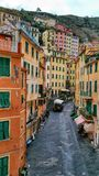 Cinque Terra Italy Old Town Coastal. Old Town in Italy right on the mountains near the water Royalty Free Stock Images