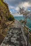 通过Cinque Terre小山谷amor  图库摄影