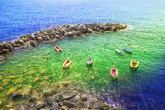Ήρεμη σκηνή στην παραλία, σε Cinque terre, Ιταλία Στοκ Φωτογραφία