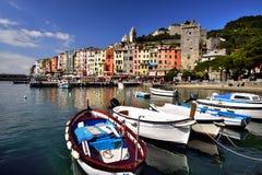Cinque Terre architektoniczni budynki i krajobraz w lato czasie Fotografia Royalty Free
