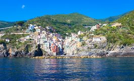 Riomaggiore in Cinque Terre, Italy - Summer 2016 - view from the Royalty Free Stock Images