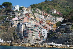Cinque Terre. The beautiful colorful buildings on the cliffs of Cinque Terre Italy Stock Images