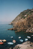 Cinque Terre-boats. Boats and cliffs landscape in Cinque Terre, Italy Royalty Free Stock Photos