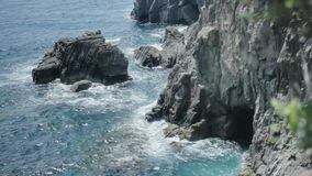 Cinque Terre Coastal Sea Cave stock video