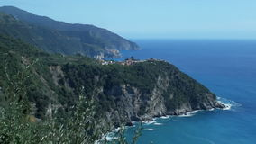 Cinque Terre coastline Corniglia and Manarola stock footage