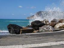 Cinque Terre hav och berg fotografering för bildbyråer