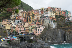 Cinque Terre Houses on cliff Stock Photos