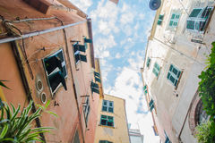 Cinque Terre houses, looking up Royalty Free Stock Images