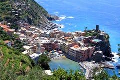 Cinque Terre Italien fem städer Arkivbild