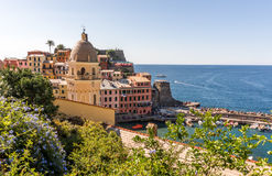 Cinque Terre, Italy. Church and houses in the Vernazza village, Cinque Terre, Italy Stock Image