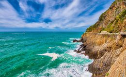 Cinque Terre, Italy. Coastline view in spring season.  Royalty Free Stock Images