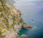 Cinque Terre Italy. Far away view from Monterosso to Vernazza - Cinque Terre, Italy stock photography