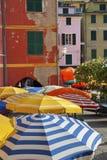 Cinque Terre, Italy. Sun Umbrella in Vernazza, Cinque Terre, Italy royalty free stock photography