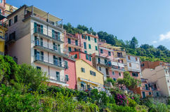 Cinque Terre Italy. View of colorful houses in Corniglia-Cinque Terre, Italy stock photography
