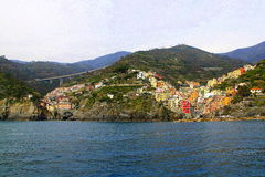 Cinque Terre, Italy. The view at Cinque terre Italy from the seaside royalty free stock photos
