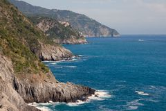 Cinque Terre kust i Liguria, Italien Arkivbild