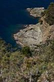 Cinque Terre, Liguri?, Italy Een overzeese klip met vegetatie stock foto's