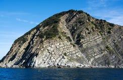 Cinque Terre, Liguria, turista que lleva del transbordador de Italy imagenes de archivo