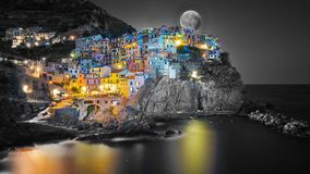 Cinque Terre Manarola in night Royalty Free Stock Image