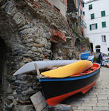 Cinque terre - Riomaggiore street. Village on coast of La Spezia province in Luguria, Italy Stock Photography