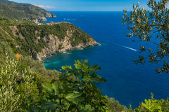 Cinque Terre scenic view. Cinque Terre Italy, view from the hiking path overlooking the sea and the villages of corniglia and manarola Stock Photo