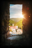 Cinque Terre sun. Italy coast landcape - Cinque Terre in sunset rays stock photos