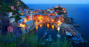 Cinque Terre, Vernazza at the blue hour Royalty Free Stock Image