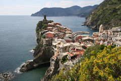 Cinque Terre, Vernazza, Italy. Vernazza is one of five famous villages of Cinque Terre, suspended between sea and land on sheer cliffs upon the beautiful sea royalty free stock photography