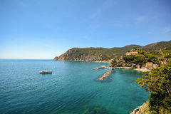 Cinque Terre: View to the beach of Monterosso al Mare with a ferry boat  in early summer, Liguria Italy Royalty Free Stock Photos